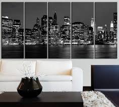 office canvas art. CANVAS ART New York City Skyline Printing - 5 Panel Home Or Office D \u2013 Extra Large Wall Art Canvas Print N