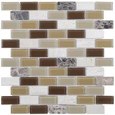 elida ceramica carmel 12 in x 12 in stone and glass brick mosaic travertine wall tile common 12 in x 12 in actual 11 75 in x 10 75 in