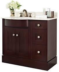 White Wood Bathroom Vanity 36 Inch Single Cherry Wood Veneer Bathroom Vanity