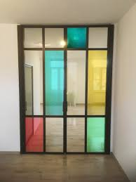 interior steel door with digital print stained glass window and modern colors or colours