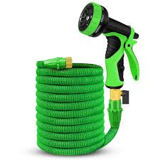 expandable garden hose 50ft water hose latex core extra strength textile solid brass fittings no rust leak 9 function spray nozzle hose hanger best
