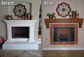 before and after photo of fireplace remodeled with a new mantel and corbels underneath
