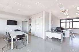 modern office walls. Modern Office With White Furniture, Cupboard, Conference Desk And Walls Plasma TV
