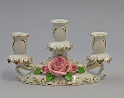 9959219 Ens Porzellan 3 Armiger Leuchter Rosen Gold 12x18cm