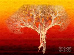the tree in fall at sunset painterly abstract fractal art digital art by andee design