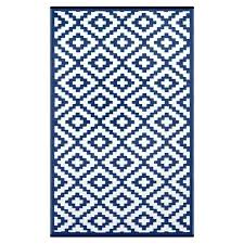 nirvana navy blue white lightweight indoor outdoor reversible plastic rug with stars full size