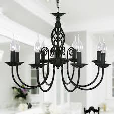 black chandelier lighting. Black Fixture 8-Light Wrought Iron Material Chandeliers 27.5 Chandelier Lighting