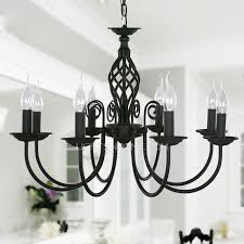 black fixture 8 light wrought iron material chandeliers 27 5