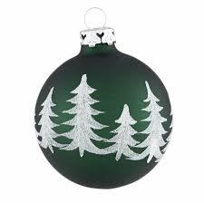 Weihnachtskugeln Tannengrün Weiß Handdekoriert Winterwald 7cm 4er Set