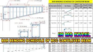 Rcc Cantilever Beam Design Example Bar Bending Schedule Of Cantilever Beam In Excel Bbs Of Beam In Excel Quantity Surveying Urdu