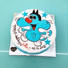 Bánh kem sinh nhật vẽ hình mèo oggy màu xanh tinh nghịch ngộ nghĩnh tặng  bạn