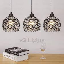 wrought iron and crystal three light modern multi pendant lights in lighting idea 4