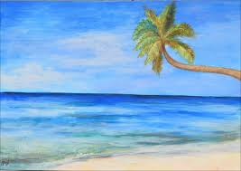 nice water color paintings for sea sky coconut tree landscape painting for