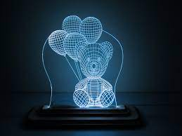 Đèn Led 3D Mô Hình Con Gấu Cầm Bóng Bay