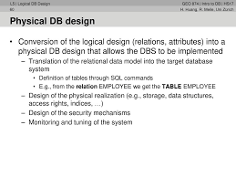 Logical Design Definition 5 Lecture Introduction To Databases Logical Db Design Part