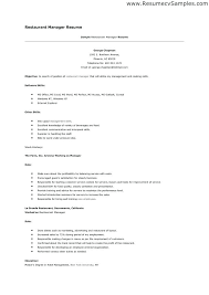 Resume Examples For Restaurant Jobs Resume Template Directory