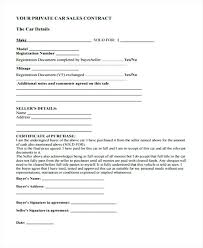 Personal Car Sale Agreement Private Car Sales Agreement Buy Sell Form Vehicle Template