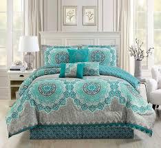 7 piece teal turquoise grey white medallion print pattern elegant comforter set