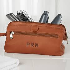 embroidered brown leather dopp kit travel bag 10215