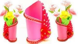 Paper Flower Base How To Make A Flower Vase At Home Making Paper Flower Vase Diy