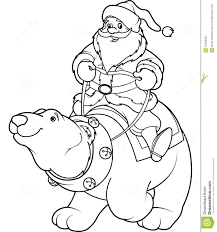 Small Picture Santa Claus Riding On Polar Bear Coloring Page Royalty Free Stock