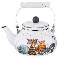 Купить <b>Чайник Agness Озорные коты</b>, 2,5л, эмаль, 934-357 ...