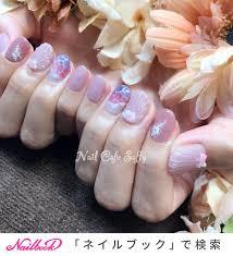 人魚の鱗ピンクレッドのネイルデザインネイルブック