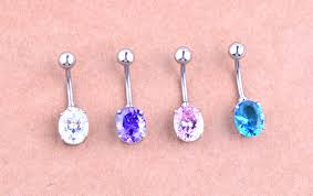 2016 new listing of the latest high end piercing jewelry shiny oval zircon navel ring