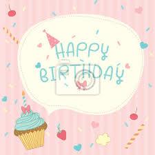 Cupcakes Vector De Diseño Para La Tarjeta De Feliz Cumpleaños