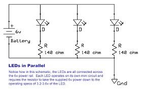 schematic diagram with four lights in