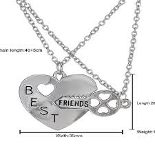 double chain best friend necklace broken heart key pendant necklaces