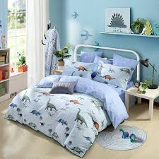dinosaur print animal themed shabby chic twin full queen size bedding sets in light blue brown and gray for kids