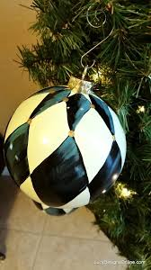 hand painted black and white harlequin diamond ornaments