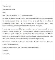 Format Of Recommendation Letter From Employer