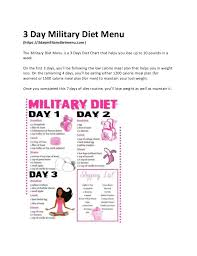 Hard Diet Chart 3 Day Military Diet Menu Lose 10 Pounds In Three Days