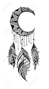 Moon Mandala Design Hand Drawn Moon Mandala Dreamcatcher With Feathers Ethnic Illustration