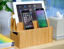 Bamboo Multi Device Charging Station and Cord Organizer
