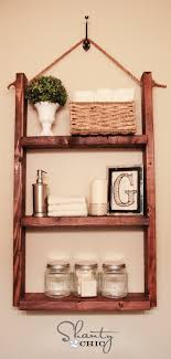 how to make hanging bathroom shelves from wood