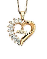 designer pendants gold plated mother s love heart pendant adorned with white saphhire voylla