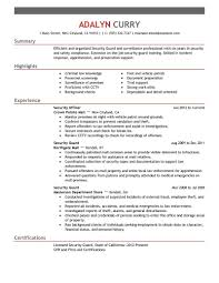 Security Job Resume Example Examples Of Resumes