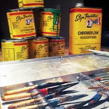 One Shot 5 Color Lettering And Pinstripe Paint 1 4 Pint Cans With Bonus Striping Brush Kit
