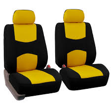 fh group universal flat cloth fabric full set car seat cover yellow and black com