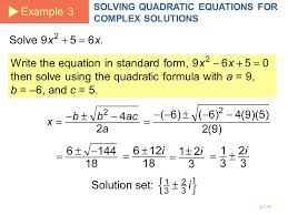 example 3 solving quadratic equations for complex solutions