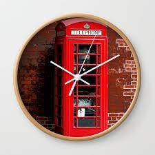 red phone box london england uk wall