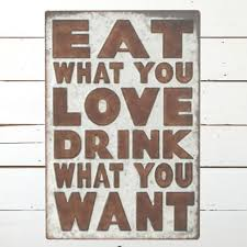 metal eat and drink wall decor