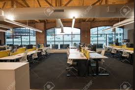 Open concept office space Cubicles Stock Photo Trendy Modern Open Concept Loft Office Space With Big Windows Natural Light And Layout To Encourage Collaboration Creativity And 123rfcom Trendy Modern Open Concept Loft Office Space With Big Windows