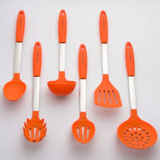 orange cooking utensil set stainless steel silicone heat resistant
