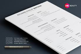 Elegant Minimal Resume Template For Word Photoshop Illustrator