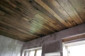 cottage wood plank ceiling basement plywood