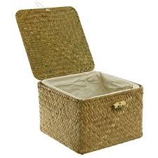 woven basket with lid. Brown Hand Woven Rattan Home Storage Basket / Decorative Box With Lid \u0026 Removable Fabric Lined